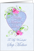 Mother's Day Step Mother with Pink Flowers card