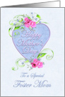 Foster Mom Mother's Day Pink and Blue Flowers card
