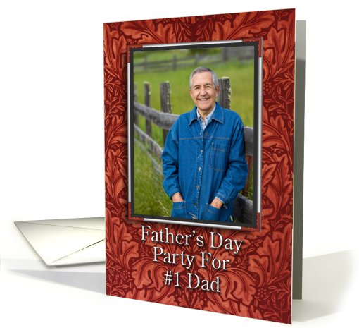 Father's Day Party Invitation Photo Card Faux Leather card (586899)