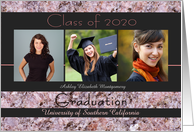 Custom Graduation Announcement 2020 Pink Stone Photo Card