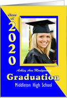 Graduation Announcement 2019 Blue and Gold Photo Card