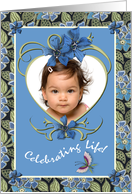 Adoption Announcement Photo Card Girl Flowers and Heart card