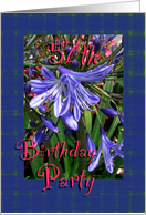 57th Birthday Party Invitation Lavender Lilies card