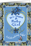 Baby Girl Adoption Announcement Flowers and Butterfly card