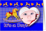 Boy Adoption Announcement Photo Card Rocking Horse card