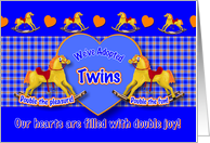 Twins Adoption Announcement Rocking Horse card
