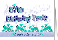 57th Birthday Party Invitation Musical Flowers card