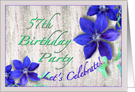57th Birthday Party Invitation Purple Clematis card