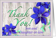 Son and Daughter-in-law Thank You Purple Clematis card