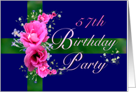 57th Birthday Party Invitations Pink Flower Bouquet card