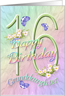 Granddaughter 16th Birthday Flowers And Butterflies Card