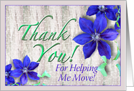 Moving Help Thank You Purple Clematis card