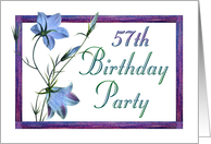 57th Birthday Party Invitations Bluebell Flowers card