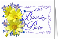 57th Birthday Party Invitations Yellow Daisy Bouquet card