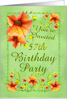 57th Birthday Party Invitation, Apricot Flowers card