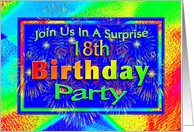 18th Surprise Birthday Party Invitations Fireworks! card
