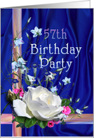 57th Birthday Party Invitation White Rose card