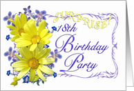 18th Surprise Birthday Party Invitations Yellow Daisy Bouquet card