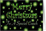 Coach Merry Christmas Green Stars and Holly card