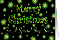 Step Son Christmas Green Stars and Holly card