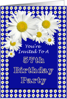 57th Birthday Party Invitation, Cheerful Daisies card