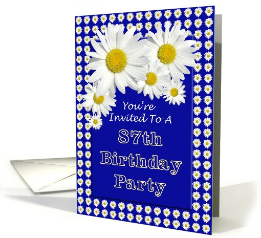 87th Birthday Party Invitation, Cheerful Daisies card (681329)