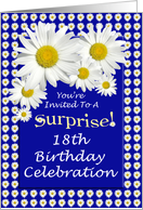 Surprise 18th Birthday Party Invitations Cheerful White Daisies card