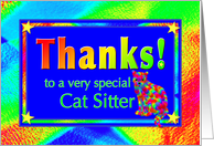 Thanks Cat Sitter with Bright Lights and Stars card