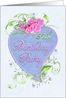 57th Birthday Party Pink Flowers Blue Heart Invitations card
