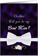 Brother, Will You Be My Best Man Elegant White Bow Tie card