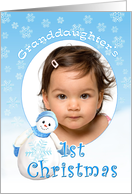 Granddaughter's 1st Christmas Snowman Photo Card