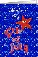 First 4th of July Smiley Star for Grandson card