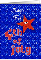 First 4th of July Smiley Star for Baby card