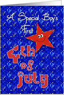 First 4th of July Smiley Star for Baby Boy card