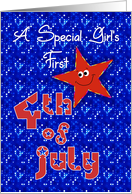 First 4th of July Smiley Star for Baby Girl card