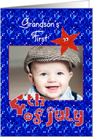 First 4th of July Smiley Star for Grandson Photo Card