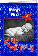 First 4th of July Smiley Star for Baby Photo Card