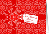 Red Lace Christmas for Grandson and Partner card