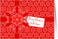 Red Lace Christmas for Half Sister card
