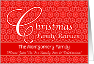 Red Lace Custom Christmas Family Reunion Invitation card