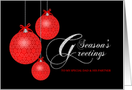 Season's Greetings Dad and Partner, Red Lace Ornaments, Customizable card