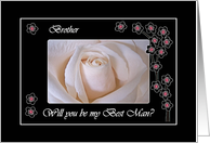 Wedding Best Man Invitation for Brother, White Rose Blossoms and Black card