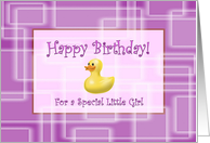 Happy Birthday for a Little Girl, Pink Geometric Pattern and Duck Toy card