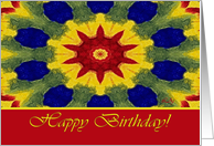 Happy Birthday for Sponsee, Colorful Rose Window Painting card