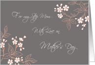 Step Mom Happy Mother's Day Card - Coral White Grey Floral card