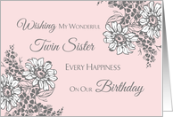 Twin Sister Happy Birthday Card