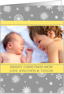 Photo Merry Christmas Mom Card - Yellow Grey Snowflakes card