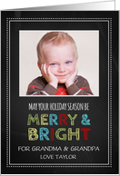 Photo Merry & Bright Christmas Grandparents Card - Colorful Chalkboard card