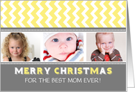 3 Photo Merry Christmas Mom Card - Grey Yellow Chevron card