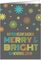 Merry & Bright Christmas Godson - Colorful Snowflakes card